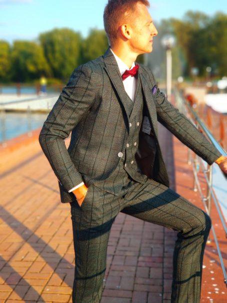 Твидовый мужской костюм изумрудного цвета (новинка сезона)