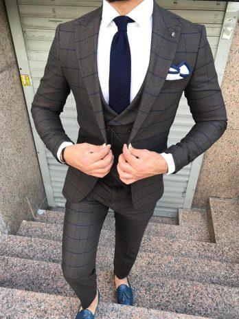 Коричневый фактурный костюм-тройка