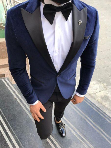 Темно-синий бархатный мужской костюм